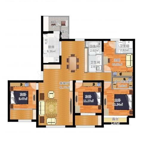 天安曼哈顿4室2厅3卫1厨116.06㎡户型图