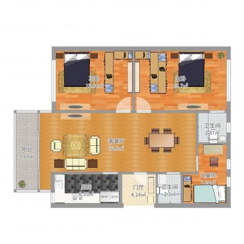 安亭新镇复苑28号201室3室2厅2卫1厨114.00㎡户型图