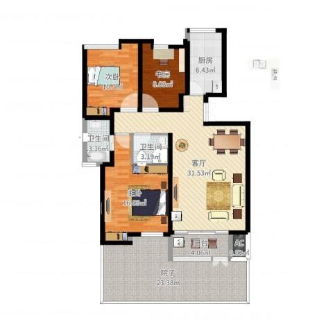 美达浅草明苑3室1厅4卫1厨134.00㎡户型图