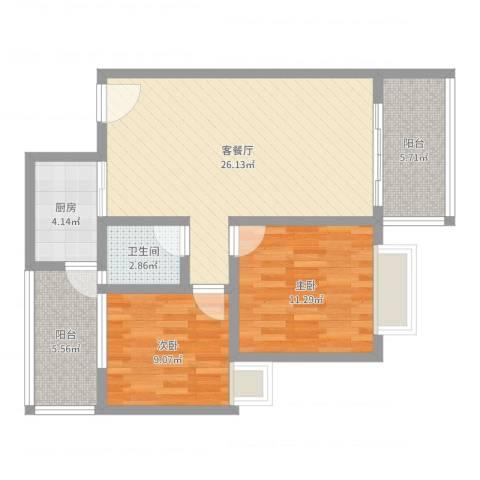万威美地2室2厅1卫1厨81.00㎡户型图