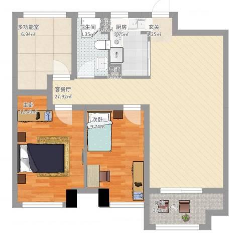海亮九玺【锦上】2室2厅1卫1厨99.00㎡户型图