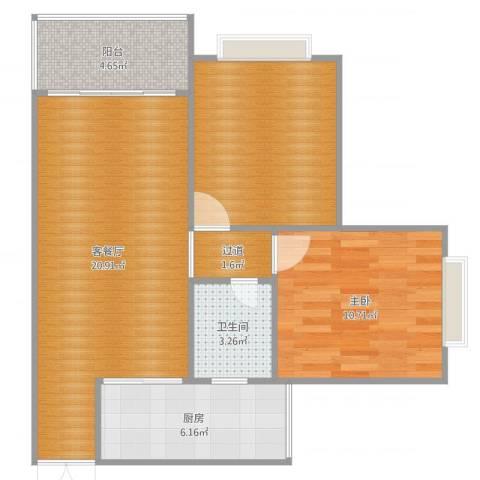龙腾盛世1室2厅1卫1厨72.00㎡户型图