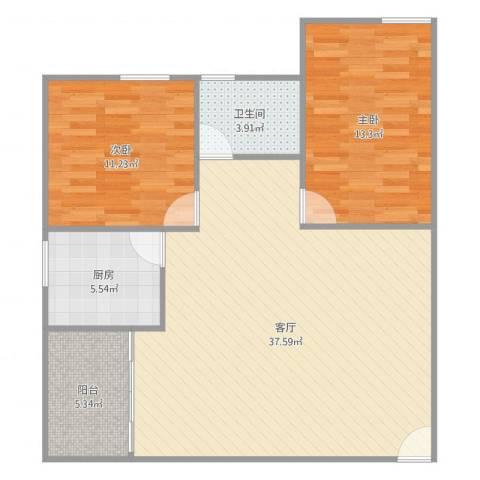 金湖花园2室1厅1卫1厨96.00㎡户型图