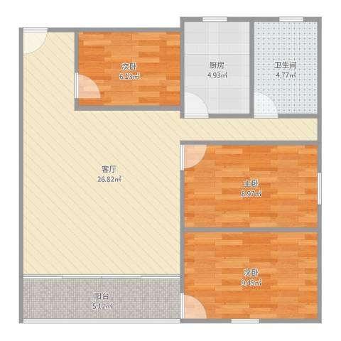 金湖花园3室1厅1卫1厨83.00㎡户型图