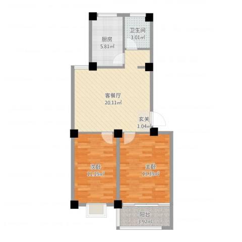 成业家园2室2厅1卫1厨81.00㎡户型图