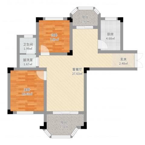 紫金天境2室4厅1卫1厨78.00㎡户型图