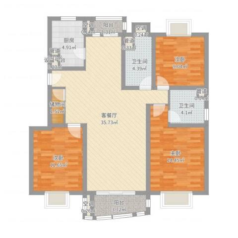 秋月枫舍3室2厅2卫1厨115.00㎡户型图