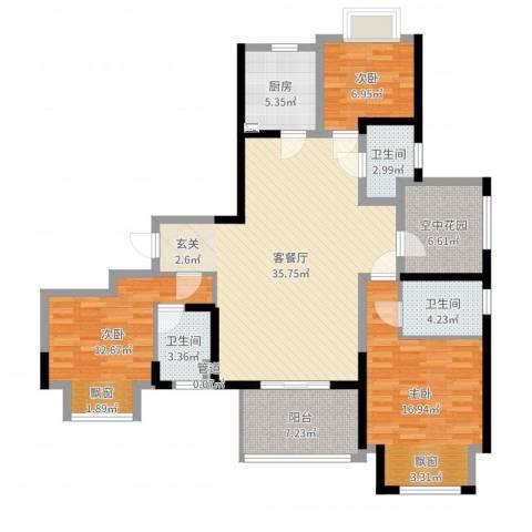 中奥珑郡3室2厅3卫1厨128.00㎡户型图