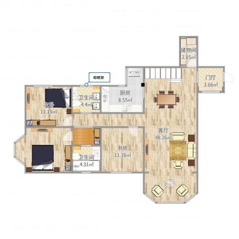 明泉公寓2室1厅2卫1厨139.00㎡户型图