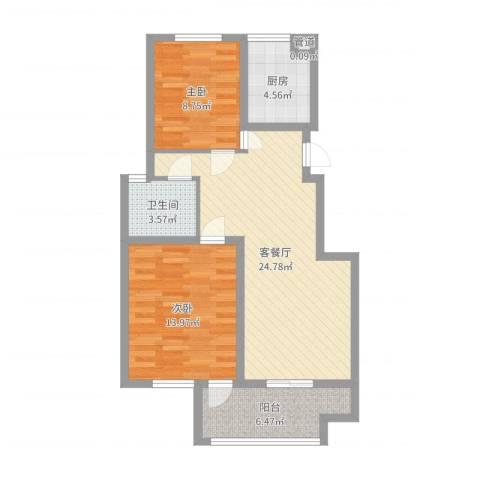 江南雅苑2室2厅1卫1厨78.00㎡户型图