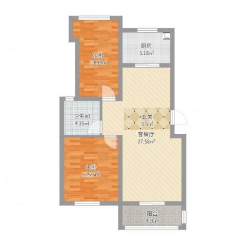 同城世家2室2厅1卫1厨92.00㎡户型图