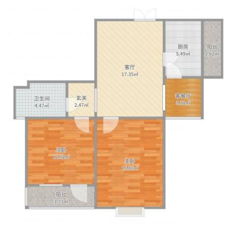 东篱花园80㎡2室3厅1卫1厨85.00㎡户型图