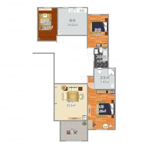 万国公馆3室1厅2卫1厨124.00㎡户型图
