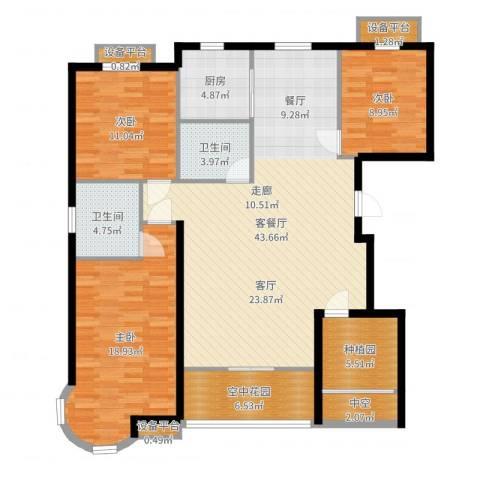 金洋石河湾3室2厅2卫1厨141.00㎡户型图