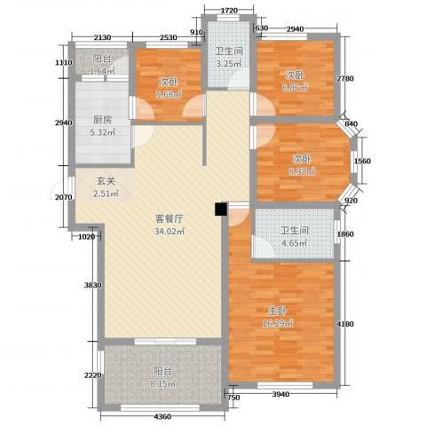 圣联梦溪小镇4室2厅2卫1厨135.00㎡户型图