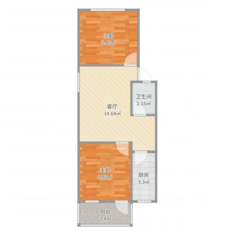 仙林新村2室1厅1卫1厨52.00㎡户型图