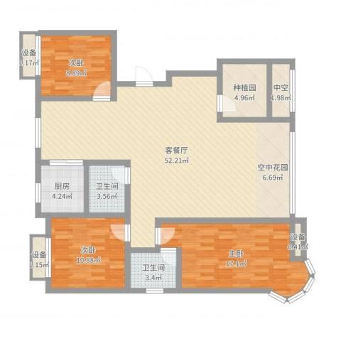金洋石河湾3室2厅2卫1厨137.00㎡户型图