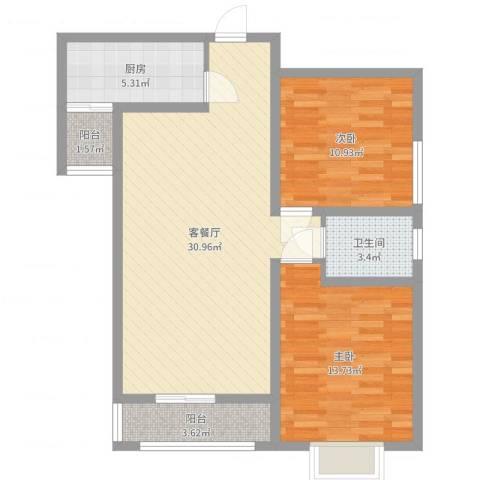旭景崇盛园2室2厅1卫1厨87.00㎡户型图