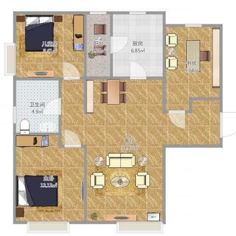 富力新城3室1厅1卫1厨97.00㎡户型图