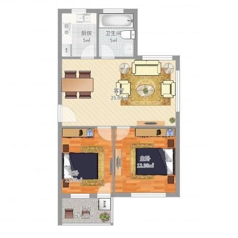 惊驾名庭2室1厅1卫1厨88.00㎡户型图