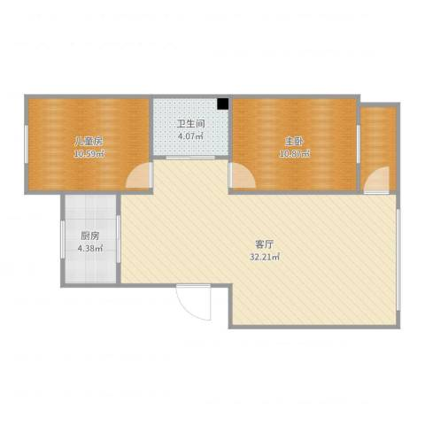 营口红运平安家园小区2室1厅1卫1厨81.00㎡户型图