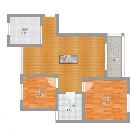 海上乐苑2室2厅1卫1厨75.00㎡户型图