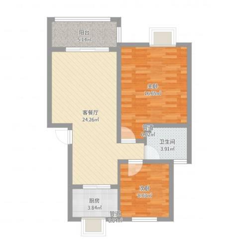鑫达・风和日丽2室2厅1卫1厨77.00㎡户型图