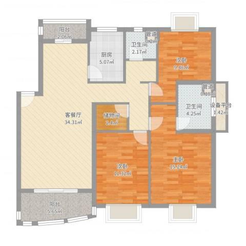秋月枫舍3室2厅2卫1厨117.00㎡户型图