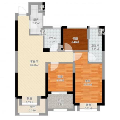 阳光城上府3室2厅2卫1厨75.00㎡户型图
