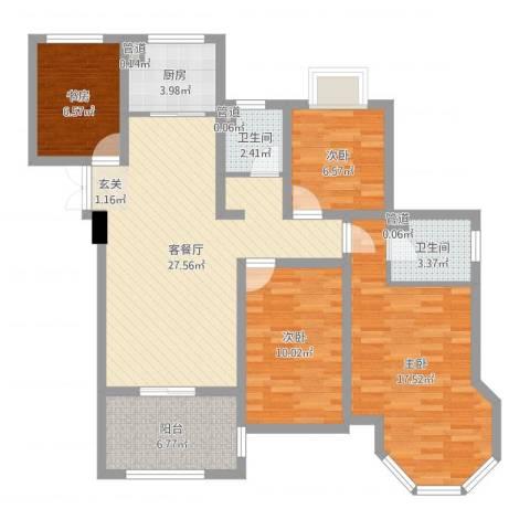 如皋中南世纪城4室2厅2卫1厨106.00㎡户型图