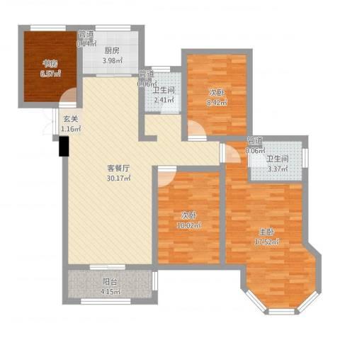 如皋中南世纪城4室2厅2卫1厨109.00㎡户型图