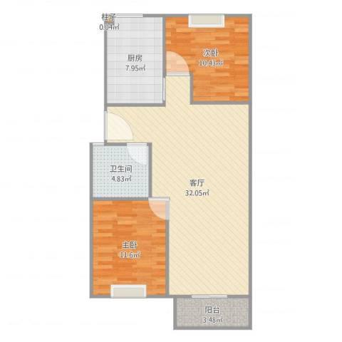 天顺园小区2室1厅1卫1厨88.00㎡户型图