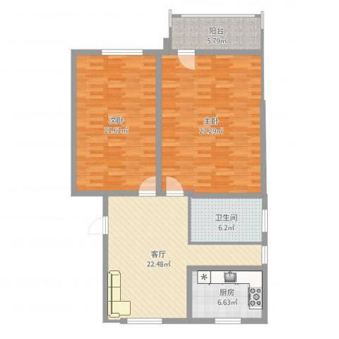工人新村2室1厅1卫1厨112.00㎡户型图