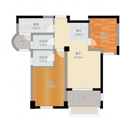 龙湖花千树2室1厅2卫1厨88.00㎡户型图