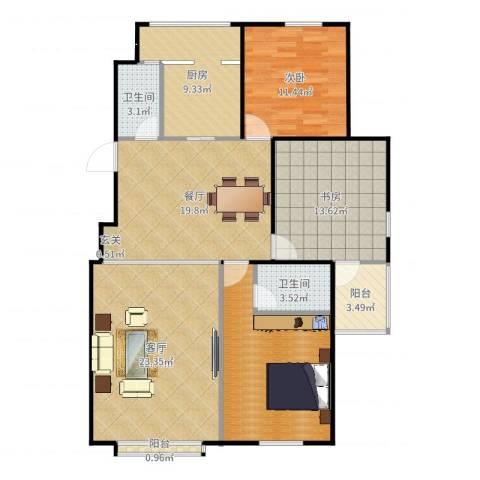 大钟寺申青芳---清华园小区2室1厅2卫1厨128.00㎡户型图