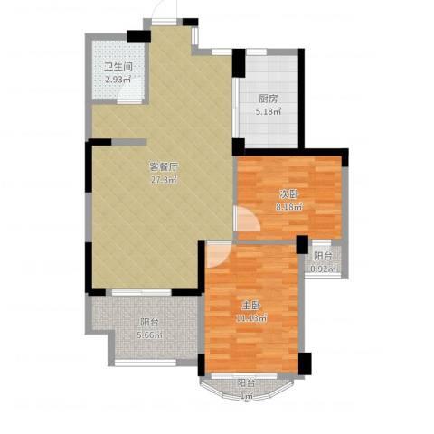 泊林公寓2室2厅1卫1厨78.00㎡户型图