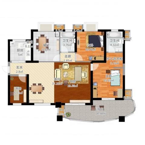 天湖城天源3室2厅2卫1厨138.00㎡户型图