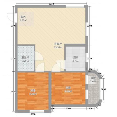 金燕花苑2室2厅1卫1厨75.00㎡户型图