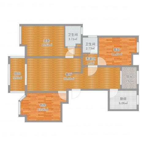 农房・英伦尊邸3室1厅2卫1厨121.00㎡户型图