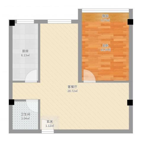 王家湾功臣楼1室2厅1卫1厨64.00㎡户型图