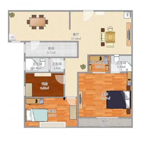 盛世金典3室1厅3卫1厨114.00㎡户型图