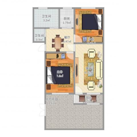 昌北财大宿舍2室2厅2卫1厨66.00㎡户型图