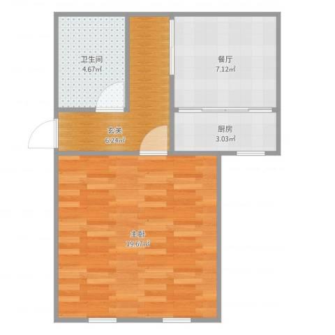 山景明珠花园1室1厅1卫1厨51.00㎡户型图