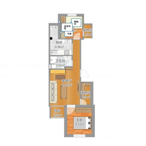 韩庄子西里2室2厅1卫1厨64.00㎡户型图