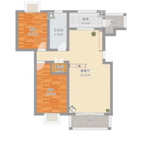 保利百合花园2室2厅1卫1厨109.00㎡户型图