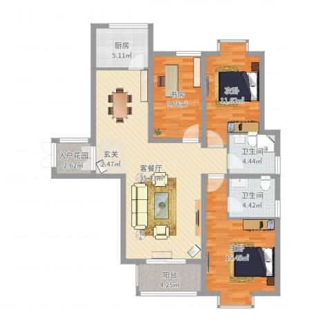 金吉华冠苑3室2厅2卫1厨116.00㎡户型图