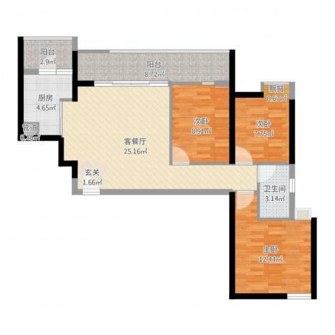 金地荔湖城3室2厅1卫1厨92.00㎡户型图