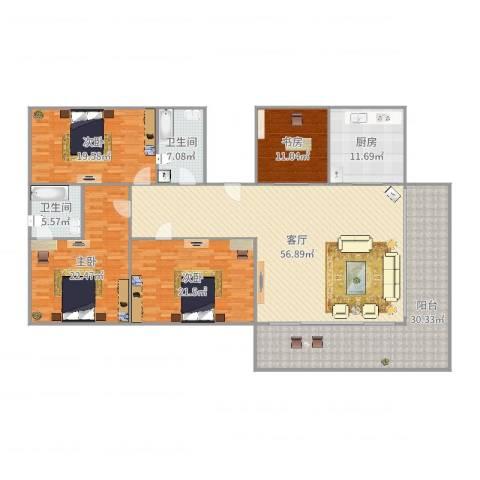 绿景华庭4室1厅2卫1厨233.00㎡户型图
