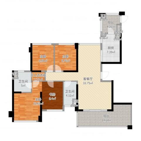 绿岛湖壹号3室2厅2卫1厨159.00㎡户型图