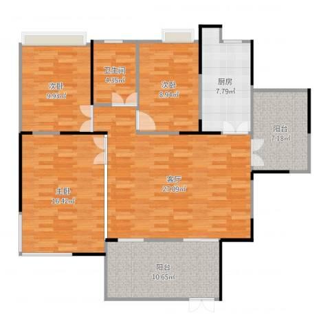 东汇家园3室1厅1卫1厨124.00㎡户型图